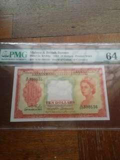 Choice Uncirculated Malaya $10