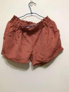 全新 粉橘反折短褲