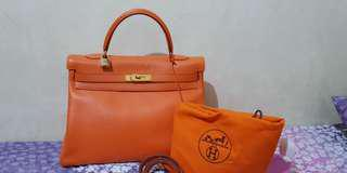 Authentic Hermes Kelly 32 orange swift