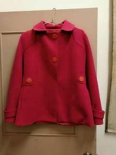 🚚 niccy桃紅大衣外套
