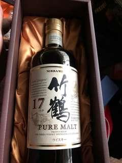 日本版竹鶴17年威士忌700ml禮盒一支。