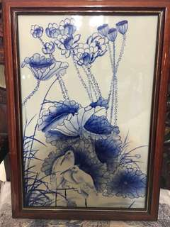 Old Blue And White Herons In Lotus Pond Porcelain Plaque