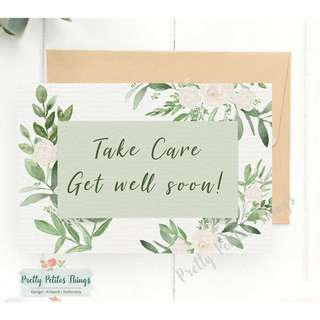 Customizable Watercolor Floral Card - Take Care and Get Well Soon