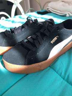 Authentic Puma sneakers, black, white & beige