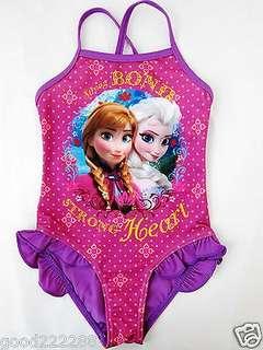 New Girls Frozen Anna Elsa swimsuit 女童冰雪奇緣紫紅色一件頭泳衣
