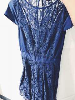 blue lace mid dress