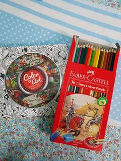 Coloring book for adult + Pensil Warna Faber Castell