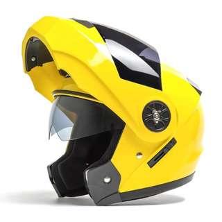 Yellow Full Face Flip Up Motorcycle Bike Modular Helmet with Double Inner Lens