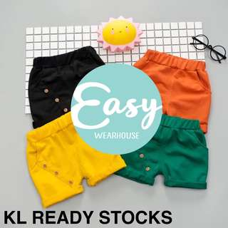 Kids Boy Casual Comfy Colourful Short Pants with Button Design