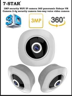3MP Security WiFi IP CCTV Camera 360 Panoramic Fisheye VR Camera (2.4g, Two-Way Audio, Ultra Clear Night Vision, Motion-Detection, Loop Recording) 7-STAR*