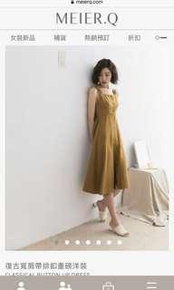 🚚 Meier q 復古寬肩帶排釦重磅洋裝 CLASSICAL BUTTON UP DRESS