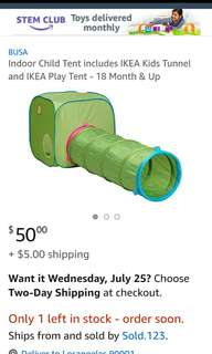 IKEA tunnel and play tent