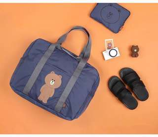 Line friends official travel bag water resistant mr brown in navy blue available for order Kakao friends
