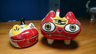🚚 (降價)藝術手工陶瓷母子貓-反攻大陸、擺飾、筆插、送禮