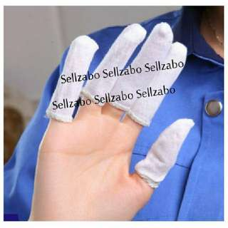 5 Pcs Cotton Cloth : Stretchable : Fingers Slots : Gloves : Bandages : White Colour : First Aid : Injured : Injury : Wounds : Cuts : Bleeding : Covers : First Aid : Arts : Sew : Sewing : Craft : Protect : Protection : Protecting : Sellzabo
