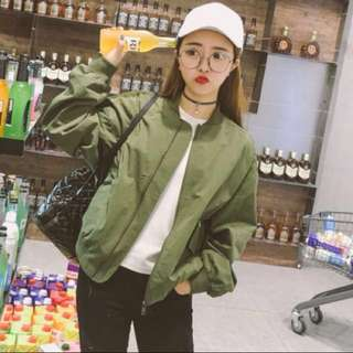 ulzzang army green bomber jacket