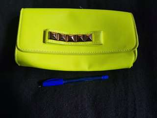 Neon Studded Clutch