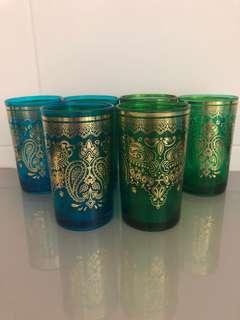 5 Morrocan glass cups
