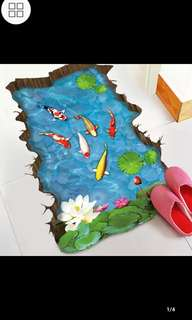 ✔Instock ( 8 Designs. $13 Each ) 3d squid pond creative floor stickers bathroom decorations stickers waterproof self-adhesive wall stickers diy home decor ⭕SIZE Around 90*60cm