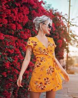 (NEGOTIABLE) H&m Mustard Yellow Floral Self Tie Wrap Dress