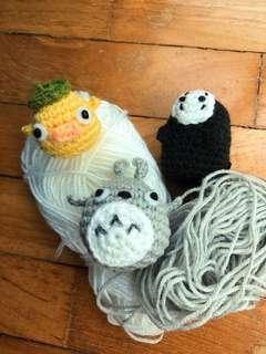 spirited away and totoro crochet characters