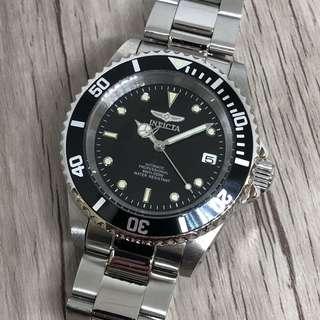 Invicta Submariner Diver Automatic Black Steel Watch
