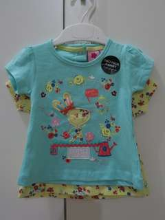 Set of 2 Top / Blouse for Baby Girl (teal and yellow)
