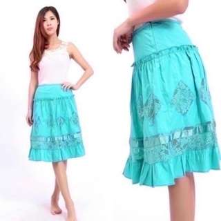 BNWT Turquoise Mint Green Lace Tier Midi Skirt (do you see this marked sold? no. then OBVIOUSLY ITS AVAILABLE)