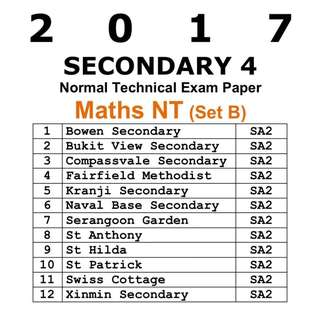 2017 Sec 4 A Maths NT Exam Papers / SET B /  Normal Technical / NT / Maths / Mathematics / math / Secondary 4 / Exam Paper / Prelim Paper / Top school paper / Past Year Papers / 4046 / prelim