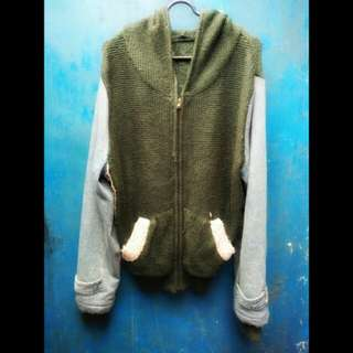 Jaket knit mix denim