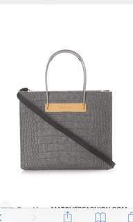 Balenciaga Grey Cable S Crocodile-Effect Felt Shopper