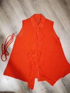 Orange Flare Sleeveless Top