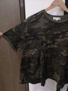 Army camouflage printed Peplum top