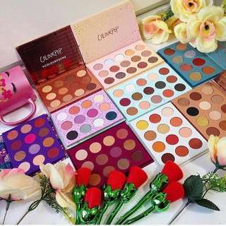 Colourpop palettes - element of surprise, you had me at hello, golden state of mind, semi precious, all i see is magic, give it to me straight, makeup ur mind, sol y mar, fortune, this is for you