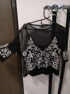 River Island Black embroidery top