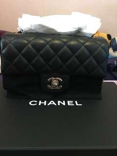 Chanel 20cm 黑牛銀扣