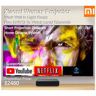 "Xiaomi Wemax Projector 100""-150"" Build in Mitv Box (Ready Stock) Free Local Channels"