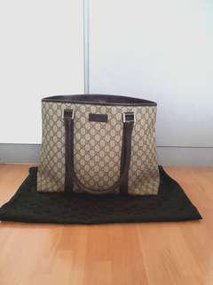 Authentic Gucci Monogram Brown Laptop Document Tote Bag Hangbag
