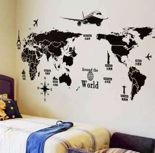 Map of the world wall sticker decal
