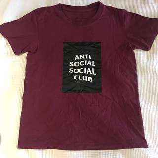 Anti Social Social Club wine red t shirt
