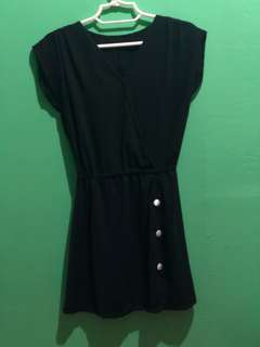 Black dress with white buttons