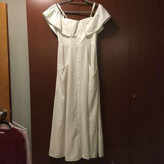 Off Shoulder Maxi White Dress