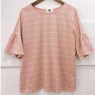 🚚 [近新]條紋袖口荷葉粉色上衣