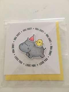 🚚 Love you Hippo and Bird Card