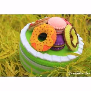 Handcrafted Green Tea Cake with Donuts and Macarons