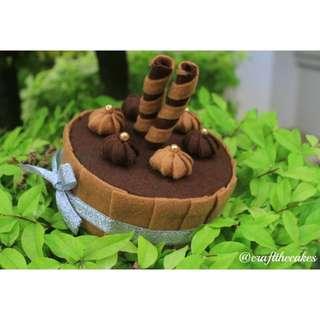 Handcrafted Mocha Cake with Chocolate Waffle Stick