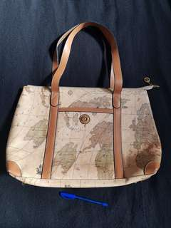 World Map PU tote satchel handbag