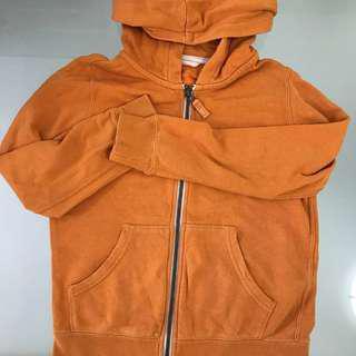 🚚 Uniqlo Orange Sweater Hooded Jacket Unisex Boys Girls Outerwear Children Clothes Hoodie Size 130