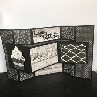 Tri fold display birthday card black white