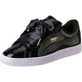 🚚 PUMA-BASKET-HEART-PATENT黑 緞帶鞋